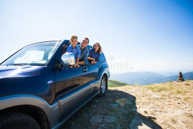 Family travel by car stock photos