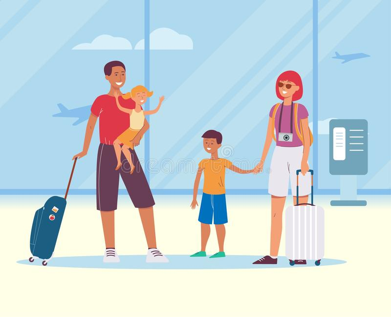 Family travel the flat cartoon vector illustration on the interior of airport hall. vector illustration