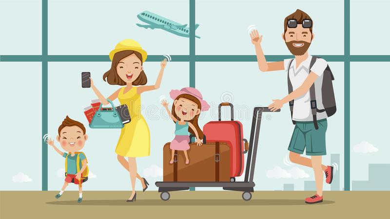 Family travel. Father ,mother, son and daughter at the airport.Happy family concept. Cartoon Asian Character Family, illustration, ,Isolated from the