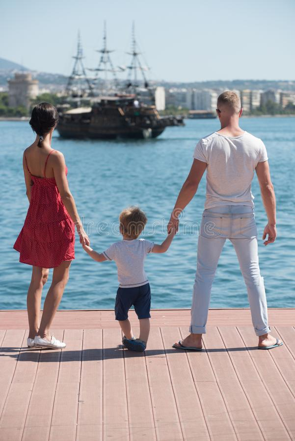Family travel with kid on mothers or fathers day. family on summer vacation. royalty free stock image