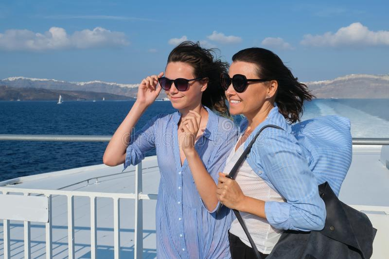Family travel luxury cruise vacation, mother and teenage daughter enjoy sea trip royalty free stock photos