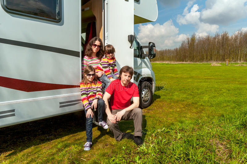 Family travel in motorhome (RV) stock images