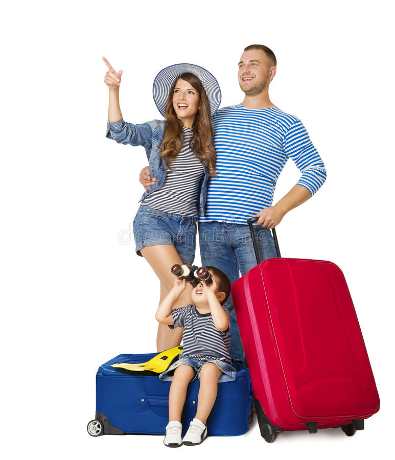 Family Travel Suitcase, Child on Luggage Binocular Looking Up. People Pointing Up with Vacation Baggage, Isolated over White Background stock images