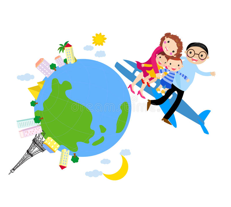 The family traveled by plane.Happy traveling. vector illustration