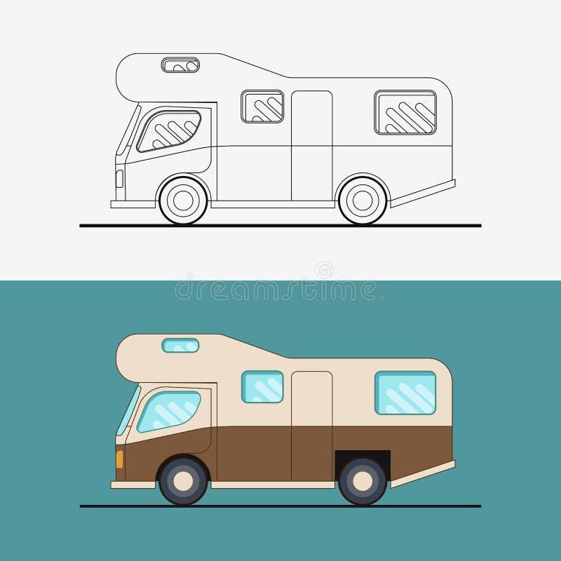 Family traveler truck . Journey camping traveling vacation car . Flat vector illustration. royalty free illustration