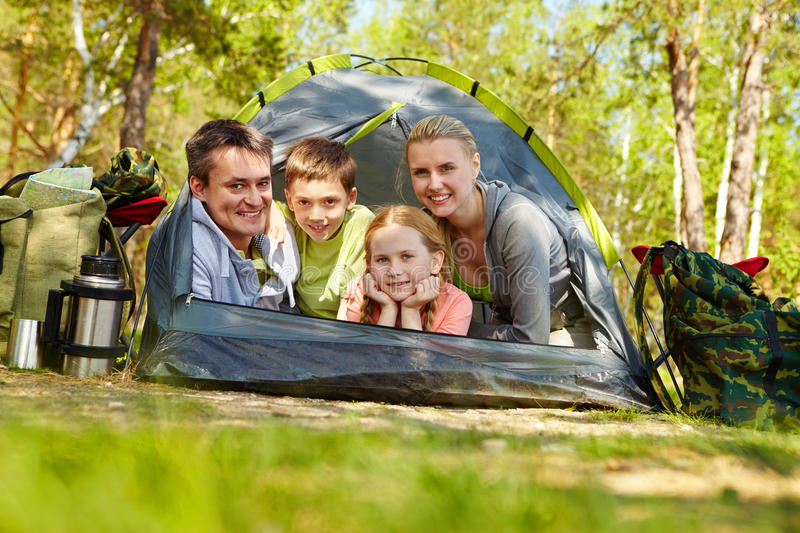 Family of travelers stock photo