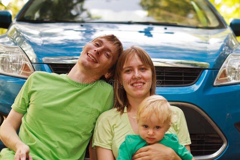 Family travelling by car stock photo