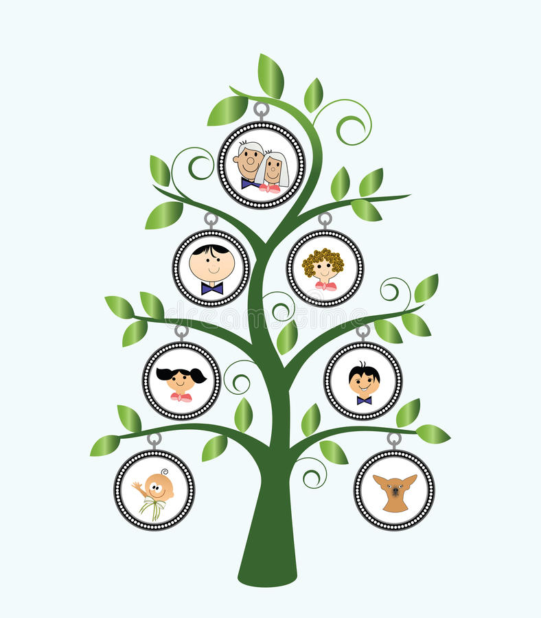 Family Tree. Stylized with cartoon family and leaves vector illustration