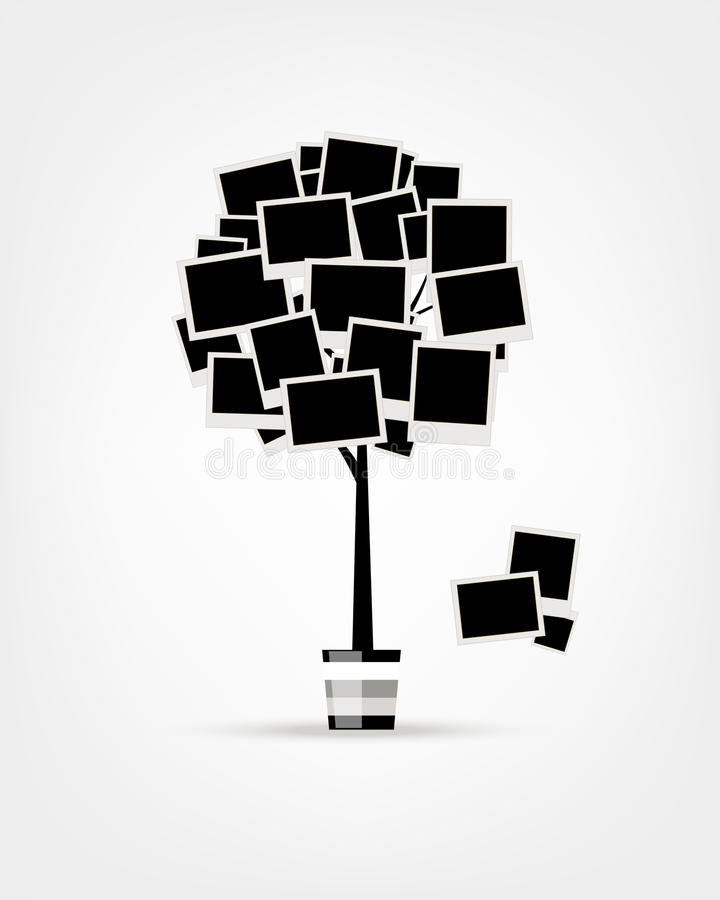 Family tree design, insert your photos into frames vector illustration