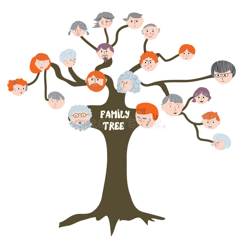 Family tree - funny cartoon royalty free illustration