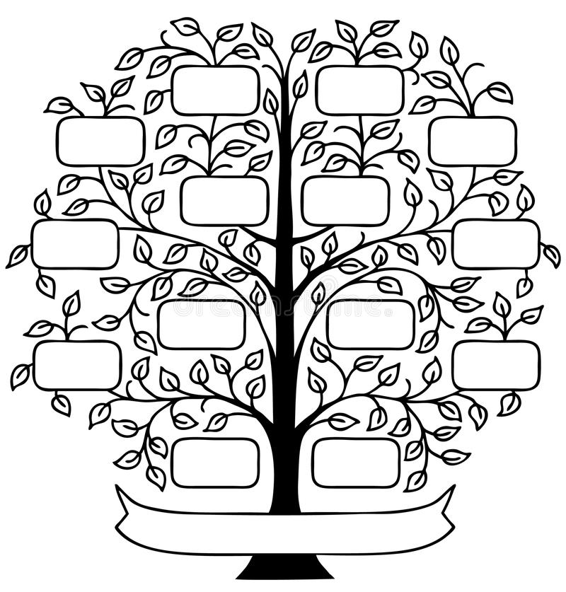 Family Tree/eps. Hand drawn decorative family tree with room to personalize with family names stock illustration