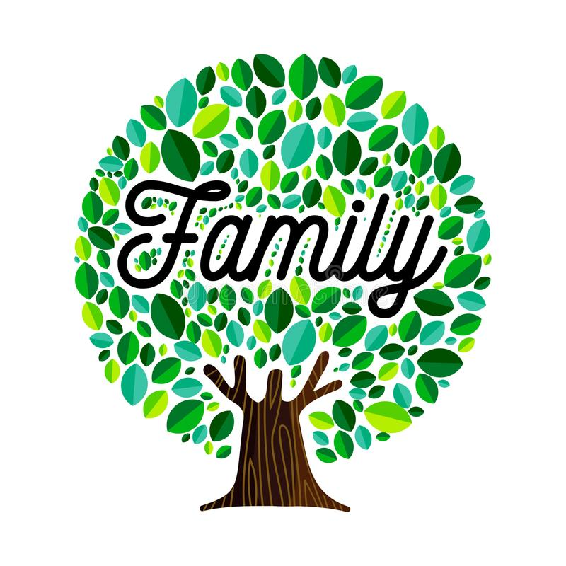 Family tree concept illustration for genealogy. Family tree illustration concept, green leaves with text quote for genealogy design. EPS10 vector vector illustration