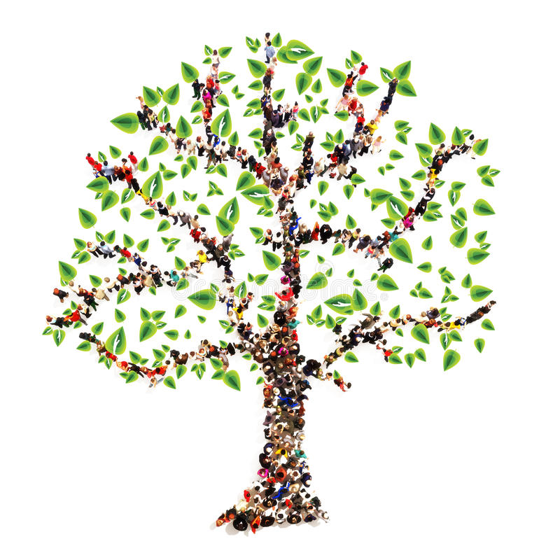 Family tree. People in the form of a tree, family tree concept royalty free illustration