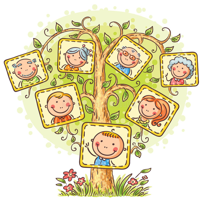 Family tree in pictures, little child with his parents and grandparents. Happy family tree in pictures, little child with his parents and grandparents stock illustration