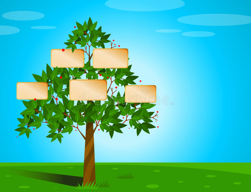 Family tree with placeholders for names/photos royalty free illustration