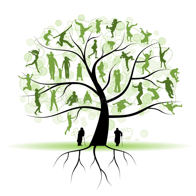 Free Family Tree, Relatives, People Silhouettes Stock Photography - 14141012