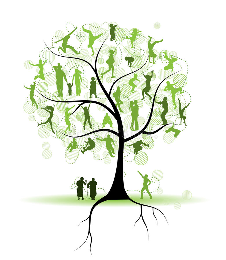 Free Family Tree, Relatives, People Silhouettes Stock Image - 14141031
