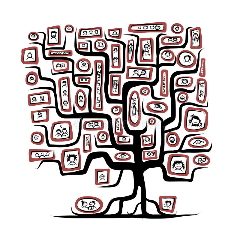 Family tree sketch with people portraits for your vector illustration