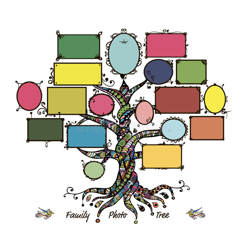 Family Tree Template With Picture Frames Stock Vector Illustration