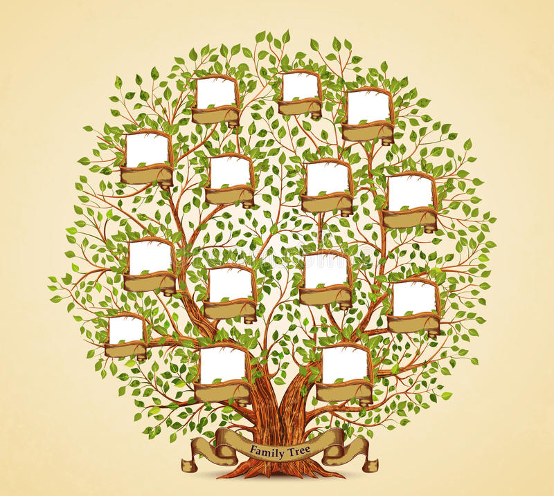 Family Tree Template Vintage Vector Stock Vector - Illustration of ...
