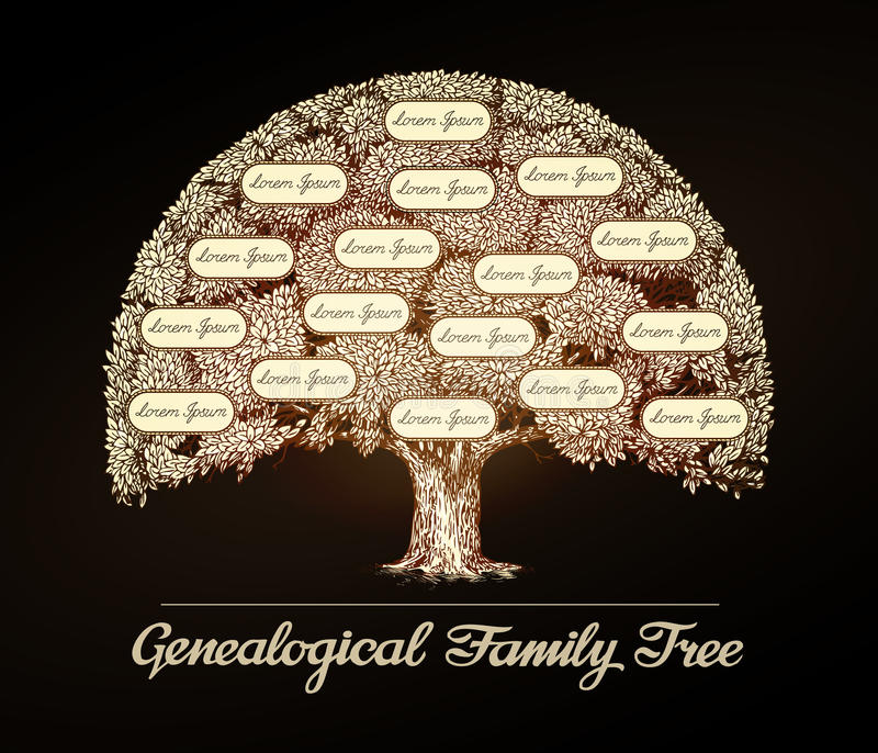 Family tree in vintage style. Genealogy, pedigree, dynasty. Family tree in vintage style. Genealogy, pedigree or dynasty vector illustration
