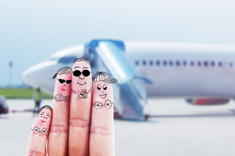 Family trip at airport stock image