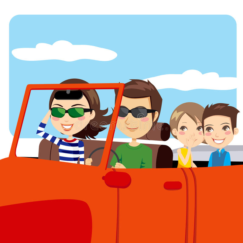 Family Trip Car. Family on a convertible car enjoying trip and a nice summer sunny day royalty free illustration