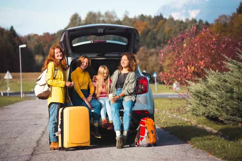 Family trip by car royalty free stock photography