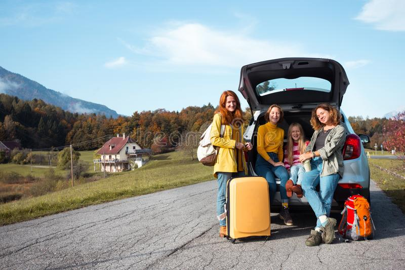 Family trip by car royalty free stock images