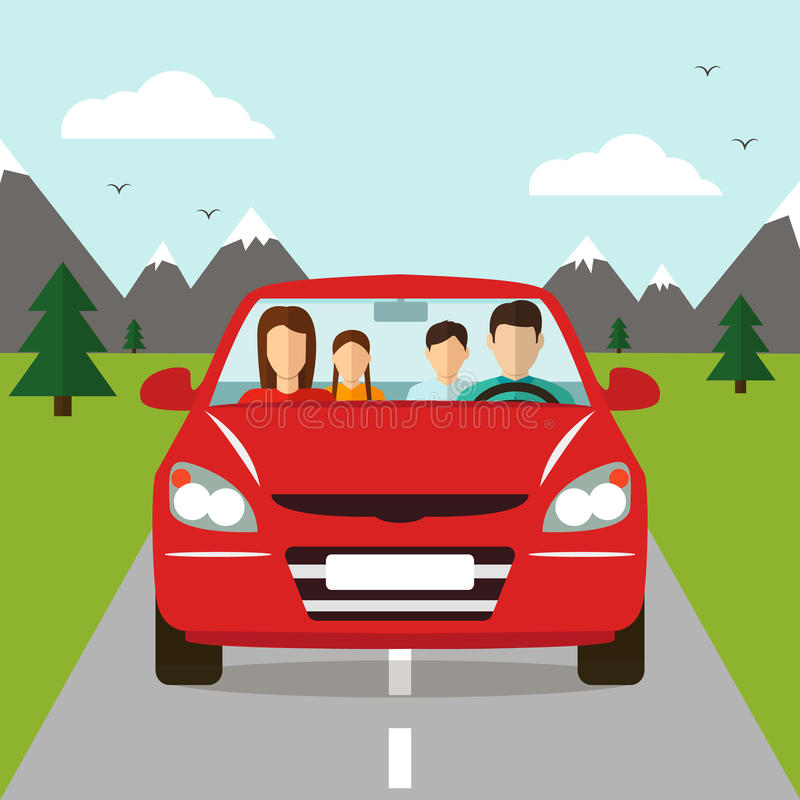 Family trip by car. Vector royalty free illustration