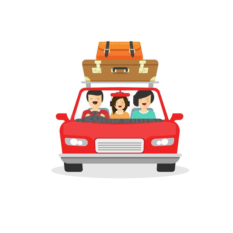 Family trip by car vector illustration, flat cartoon happy people driving or travelling in automobile with luggage. Travel via auto isolated on white royalty free illustration