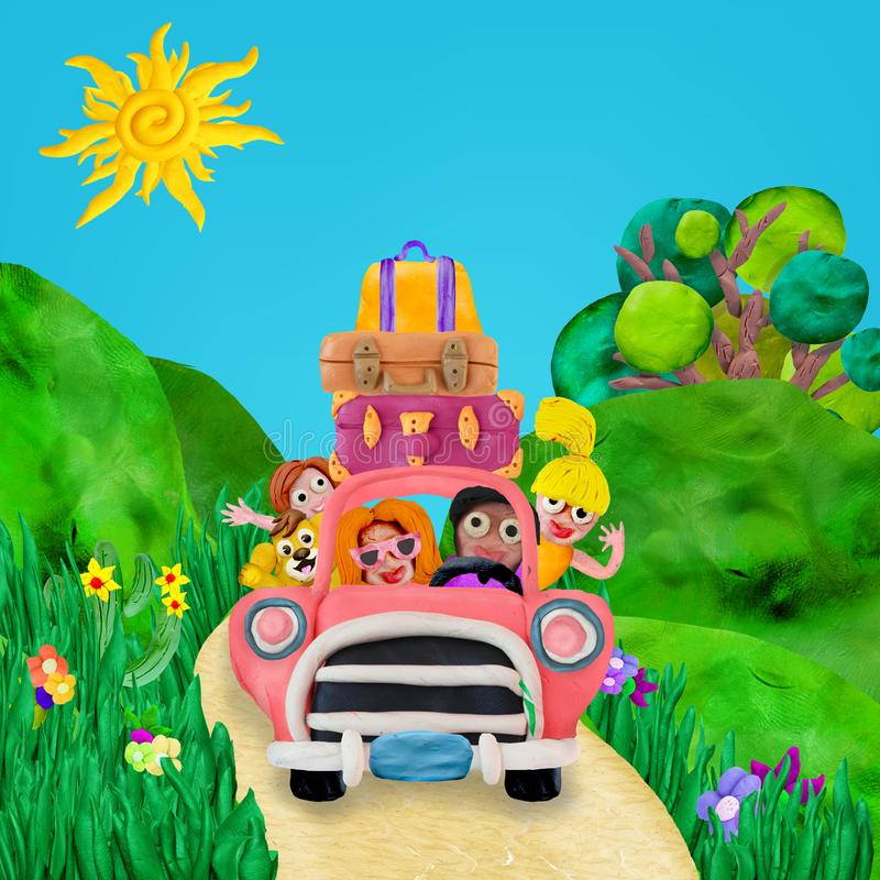 Family trip by retro car with beautiful green meadows on background 3D rendering illustration royalty free illustration