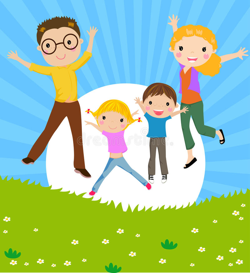 Family with two children stock illustration
