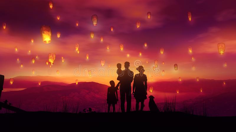 Family with two children and a dog among flying Chinese lanterns at sunset stock photos