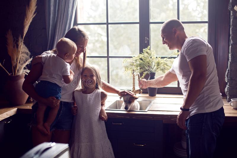 Family with two children and a dog standing in the kitchen stock images