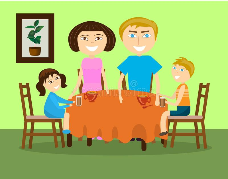 A family with two children is drinking tea at a table. vector illustration