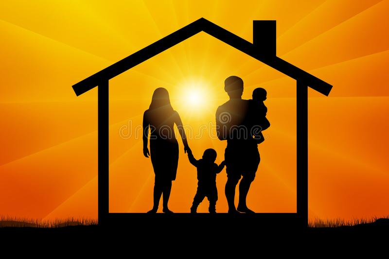 Family with two children in the house at sunset, silhouette vector. royalty free illustration