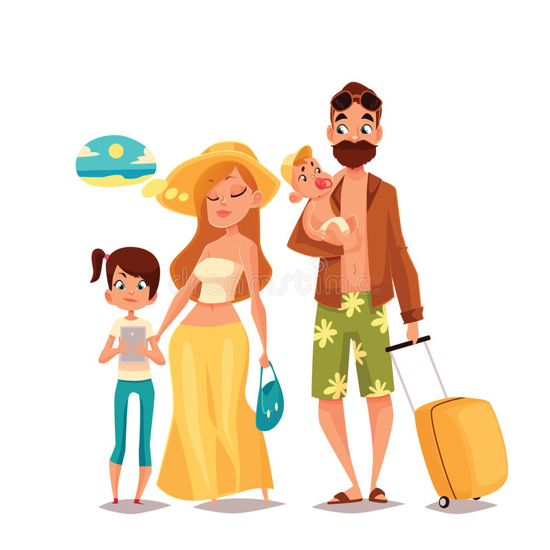 Family with two children and luggage arrived Vacation vector illustration