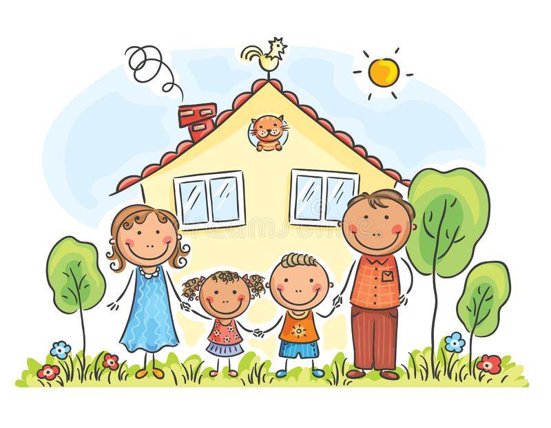 Family with two children near their house, cartoon graphics royalty free illustration