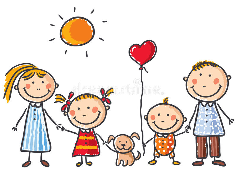 Family with two children and a puppy stock illustration