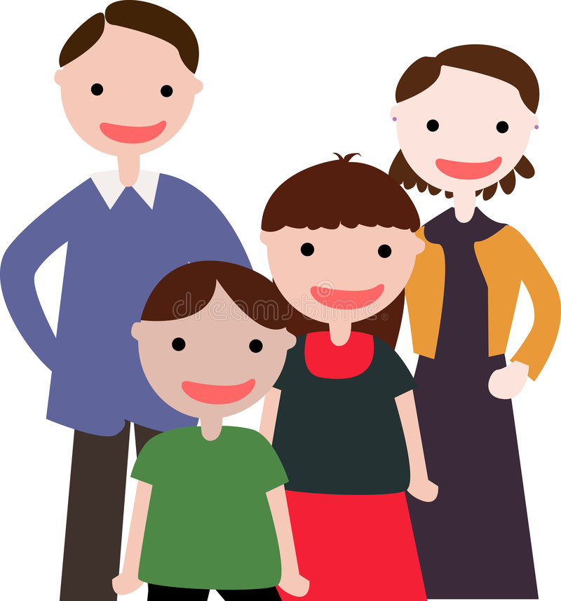 Family with Two Kids stock illustration
