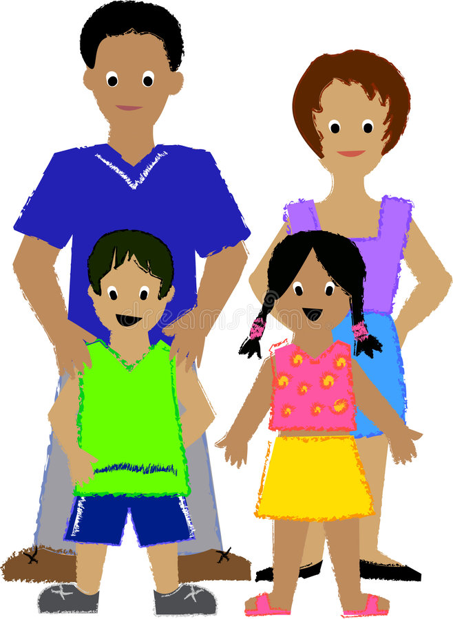 Family with Two Kids/ai stock illustration