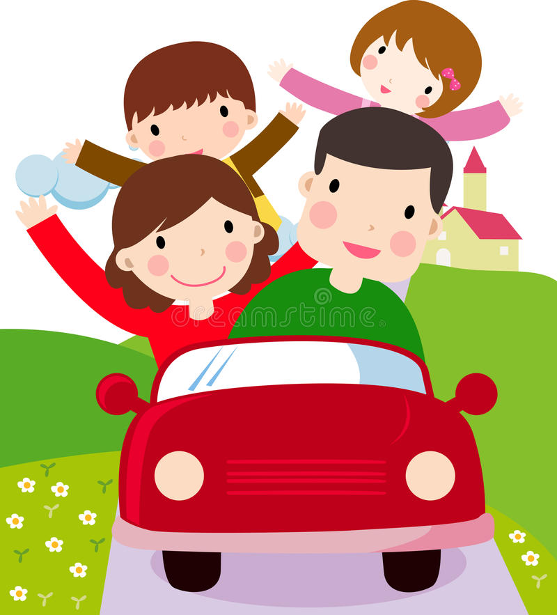 Family with Two Kids and Family Travel vector illustration