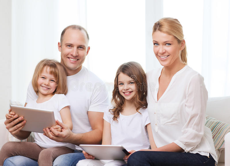 Download Family And Two Kids With Tablet Pc Computers Stock Photo - Image of beautiful, father: 39654630