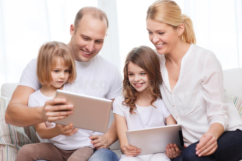Download Family And Two Kids With Tablet Pc Computers Stock Photo - Image of four, adult: 39784136