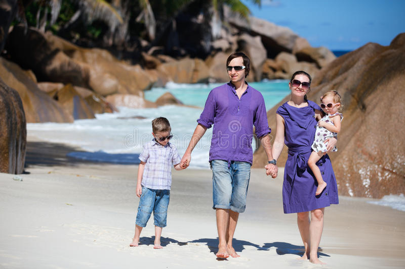 Family With Two Kids On Vacation Royalty Free Stock Image