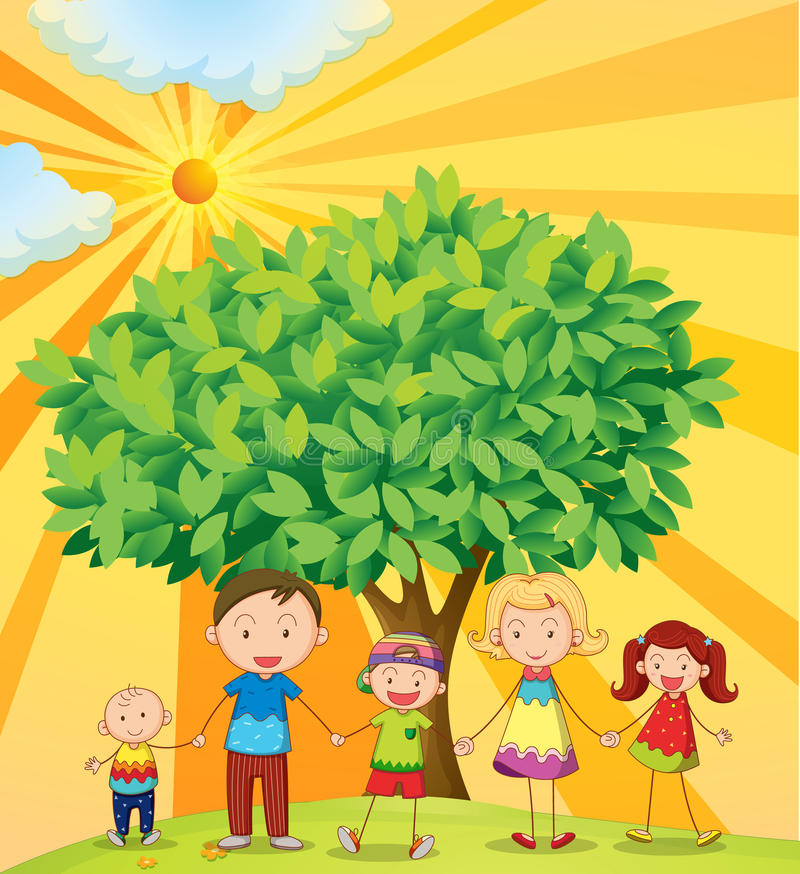 Free Family Under The Tree Royalty Free Stock Images - 25770719