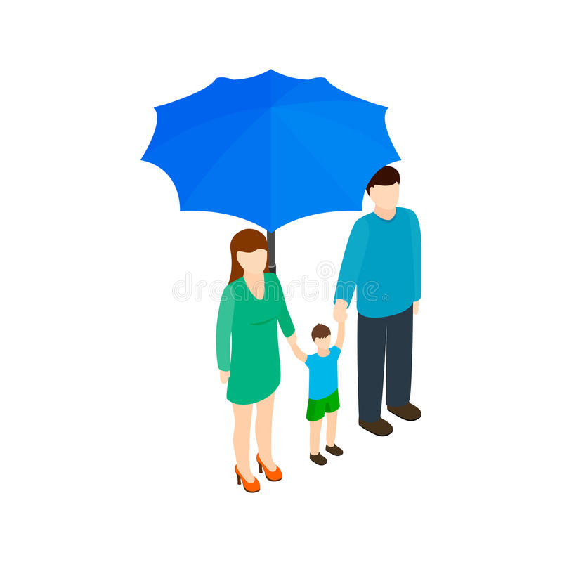 Family under umbrella icon, isometric 3d style royalty free illustration