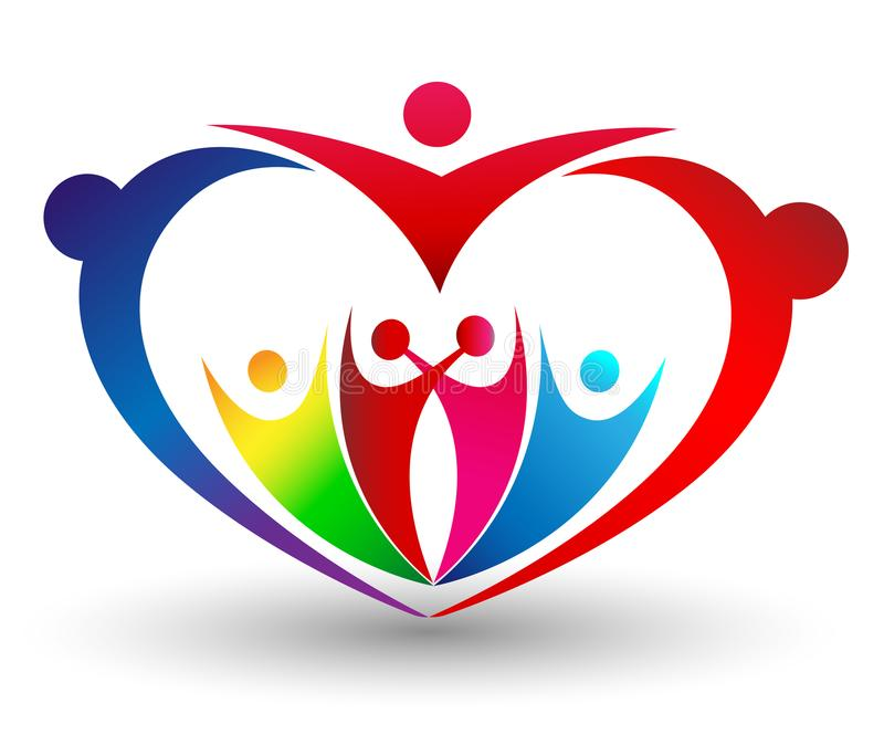 Family union in a heart shape colorful logo vector illustration