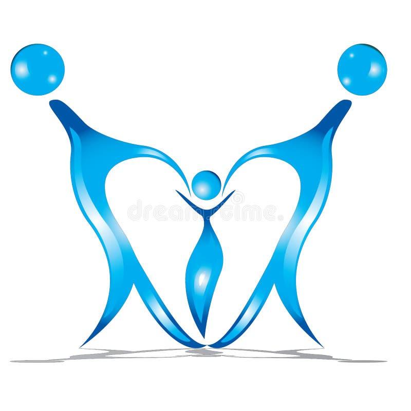 Family union in a heart shape logo. vector illustration